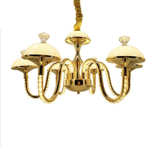 Elegante y moderno color dorado, 4 brazos, 7 brazos, aluminio, cristal K9, lustre, cristal, accesorio de iluminación LED para el comedor, sala de estar, dormitorio.