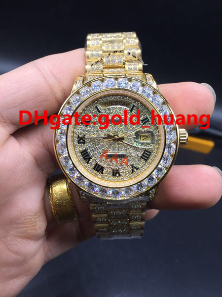 New Full diamond day date big bezel luxury watch automatic brand men's watches diamond face wristwatch All diamond band (Gold and Silver)
