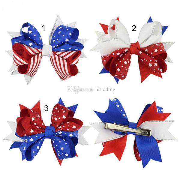 Американский флаг печати заколки лук зажим для волос ласточкин хвост шпильки лук для волос с зажимом 4 июля дети аксессуары для волос C4369