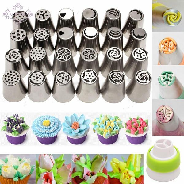 25 PCS Aço Inoxidável Russa Tulipa Bicos De Tubulação De Geléia de Pastelaria Decoração Dicas Bolo Cupcake Decorator Rose Acessórios de Cozinha