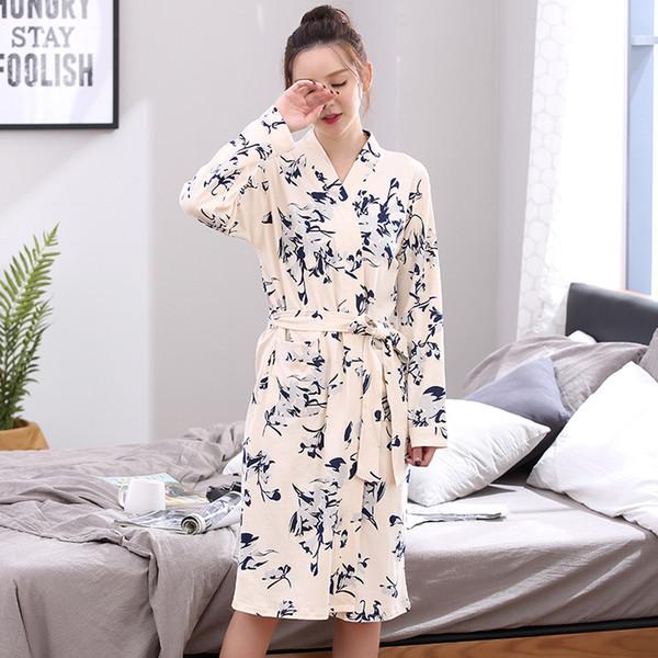6794b54c44 Newest Spring 100%Cotton Long Sleeve Print Women Robes Nightgown V-neck  Cardigan Loose Plus Size L-3XL Ladies Bathrobe Sleepwear