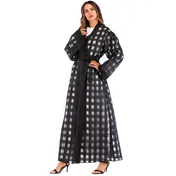 Black Abaya Dubai Long Chiffon Mesh Plaid Muslim Hijab Dress Turkish Islamic Clothing Qatar UAE Abayas For Women Kimono Cardigan