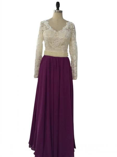 Hot Purple Long Prom Dress Beautiful Long Sleeves V Neck Pearls Lace Chiffon Evening Formal Gowns vestido longo