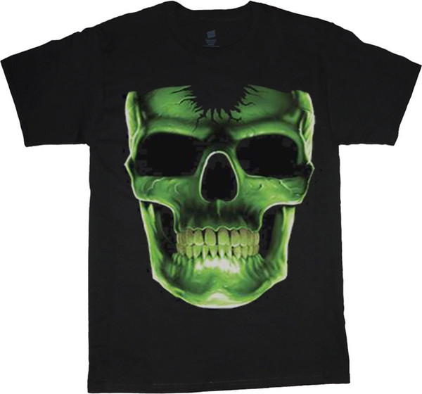 2018 Fashion 100% Cotton Slim Fit Top Big And Tall Shirts For Men Green Skull Design Decal Tee Shirt Men's Tall Tees