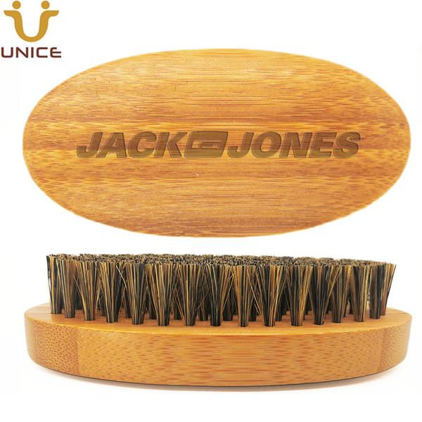 MOQ 50pcs LOGO Amazon caliente OEM modificado mejorada calidad de bambú Barba cepillo con cerdas de jabalí puro cepillo de pelo facial barbas bigote