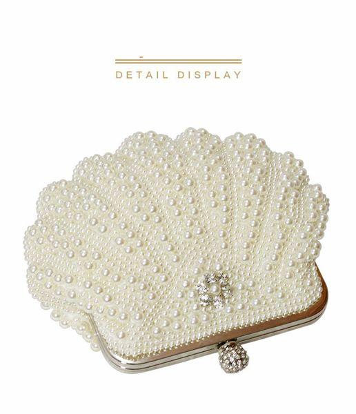 Beautiful Luxury Clutch Purse Women Crystal Diamond Evening Bags White Pearl Beaded Shoulder Party Bag Bridal Wedding Clutches Handbags 2019