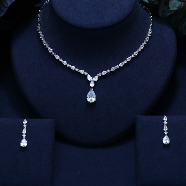JANEKELLY CLEAR  BRILLIANT CRYSTAL ZIRCON EARRINGS AND NECKLACE BRIDAL JEWELRY SET WEDDING DRESS ACCESSARIES