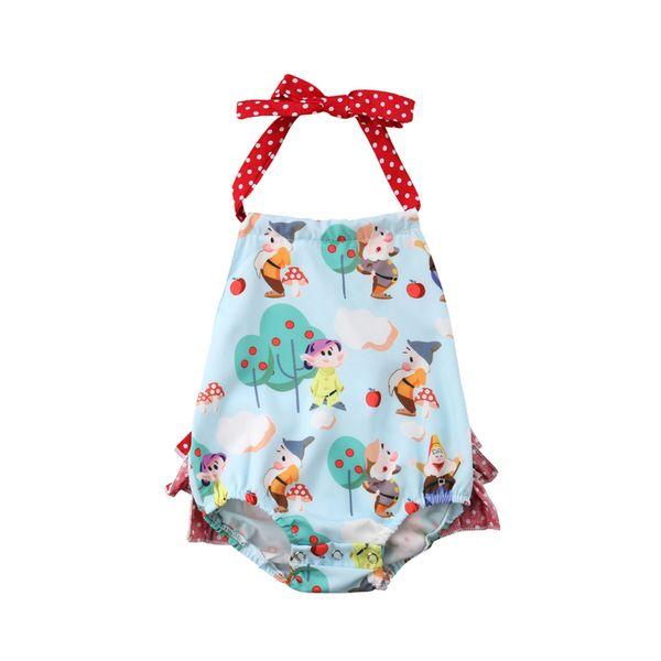 Recién nacido Bebé Niña Body para niños Niños Halterneck sin respaldo Ruffle Sunsuit Mono Mono traje ropa trajes