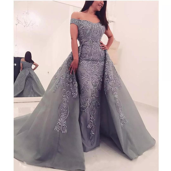 Silver Gray Mermaid 2018 Evening Dresses Off Shoulder Illusion Lace Applique with Detachable Train Arabic Prom Pageant Formal Party Gowns