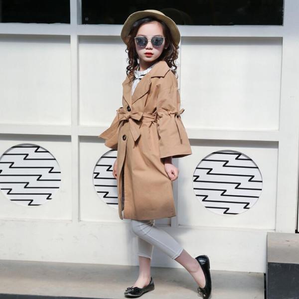 Мода 2018 осень малыш девочки-подростки пальто Детская одежда девочка хлопок лук куртка верхняя одежда детские куртки Jw3596