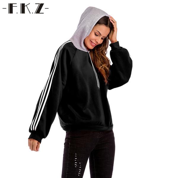 Fkz 2018 осень женщины толстовки повседневная с длинным рукавом с капюшоном пуловеры кофты с капюшоном женский перемычка женщины спортивные костюмы спортивная