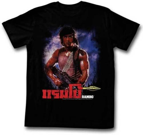 Rambo First Blood In Thai With Machine Gun Adult T Shirt Great Movie Men's Clothing T-Shirts Tees Men Hot Cheap Short Sleeve Male