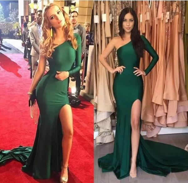 Emerald Green eleganti abiti da sera spalati 2019 maniche lunghe una spalla lunga abiti da promenade Mermaid Party Celebrity Gowns
