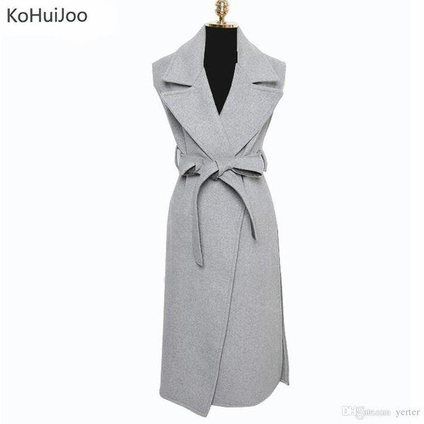 Wholesale-KoHuiJoo High Quality Elegant Autumn Wool Blend Long Vest Women Fashion Belted High Slit Waistcoat Female Sleeveless Coat Street