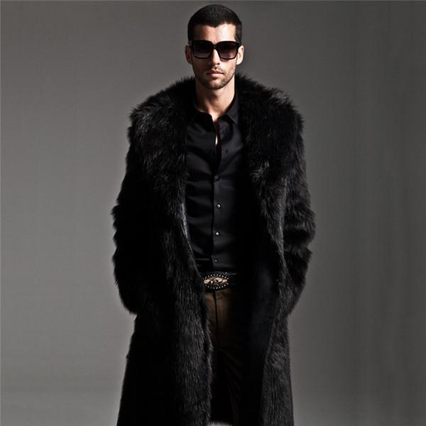Longo Faux Casaco De Pele Dos Homens de Inverno Faux Fur Jacket Mens Parka Punk Casacos de Comprimento Total de Casacos De Couro Masculino Casaco Manteau Plus Size