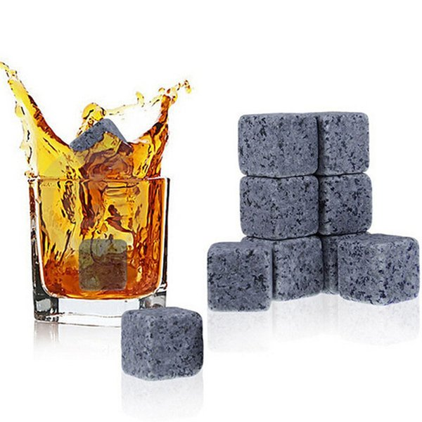 Whiskey Stones, Reusable Ice Stone Chilling Rocks Cubes in Gift Box with Carrying Pouch, Set of 9 for Whiskey, Bourbon, Wine Bourbon