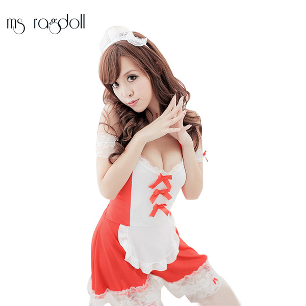 Sexy Black Red Maid Outfit Baby Dress Porno Erotic Underwear Women Sexy Lingerie Costumes Sex Costumes Wet Clothes