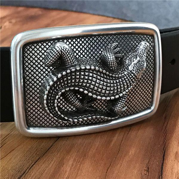 TOP 3D Crocodile Belt Buckle Super Thick Genuine Leather Luxury Jeans Men Belt Ceinture Homme Cinturones Hombre Male MBT0481