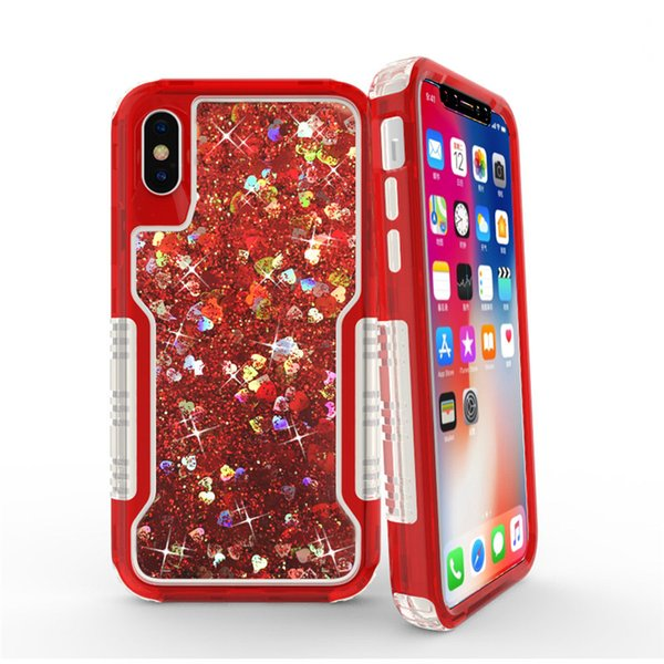 For iPhone 9 Xs 5.8 6.1 6.5 inch S9Plus 3in1 Fashion Glitter Liquid Quicksand Case Bling Crystal Robot Defender Cases