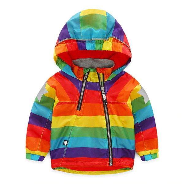 Fashion Casual Baby Boys Girls Clothes Cool Jacket Kids Rainbow Colour Windbreaker Windproof Raincoat Boys Outerwear CA440