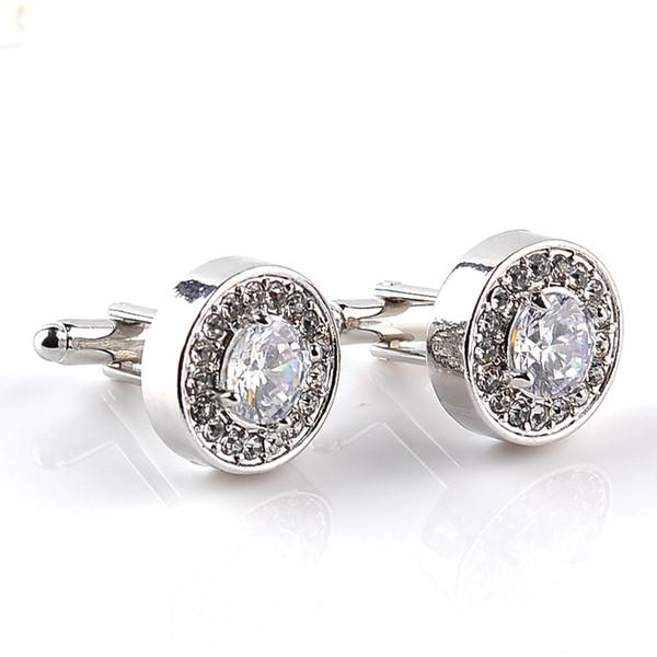 La joyería para hombre blanca del esmalte púrpura mancuernas cristalinas de la mancuerna de fiesta de la boda ronda francesa puño de la camisa botones 10pairs Accesorios