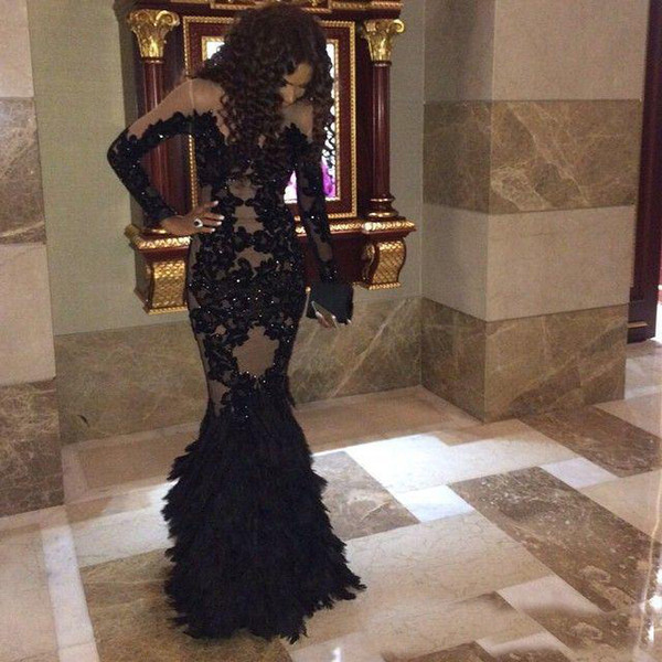 Luxury Modern Black Feather Evening Dresses Long Sleeves With Champagne Lining Arabic Real Tulle Mermaid Formal Prom Gowns Plus Size