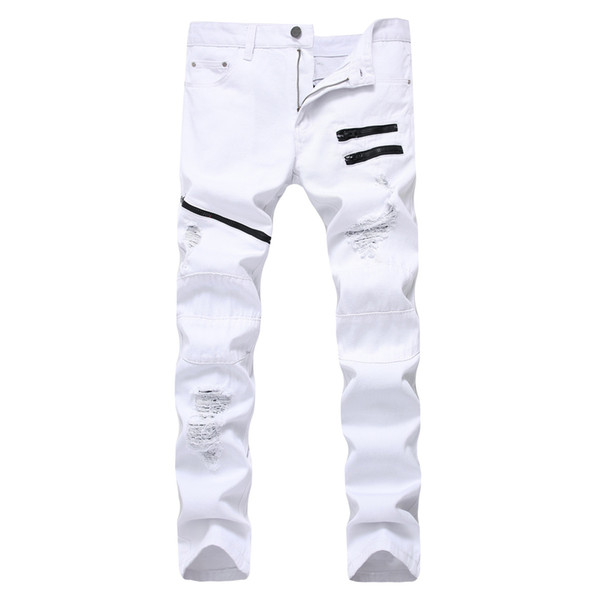 New men's casual fashion jeans zipper white red cotton sanded hole slim straight jeans trousers for men