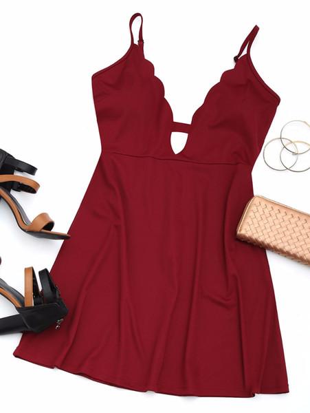 ZAFUL Women Back Zip Mini Dress Scalloped Cut Out Spaghetti Strap Sleeveless A-line Dresses Casual Summer Solid Dress Vestidos