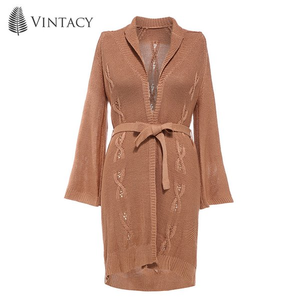 Autumn Women Long Knitted Cardigan Elegant Khaki 2018 Fashion Knitwear Sashes Belt Warp Plus Sizes Causal Loose Sweater Coats