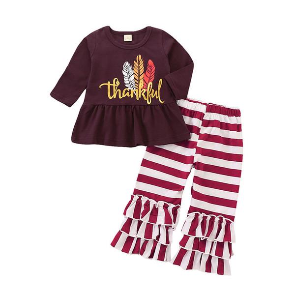 Şükran Bebek kız kıyafetler çocuk Türkiye tüy mektup Baskı üst + şerit fırfır pantolon 2 adet / takım İlkbahar Sonbahar çocuk Giyim C5384 Setleri