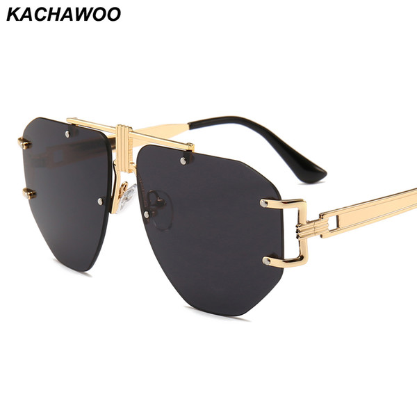 Kachawoo Oversized Frameless Sunglasses Men 2019 Big Yellow Pink Black Metal Punk Sun Glasses Women Retro Birthday Gift