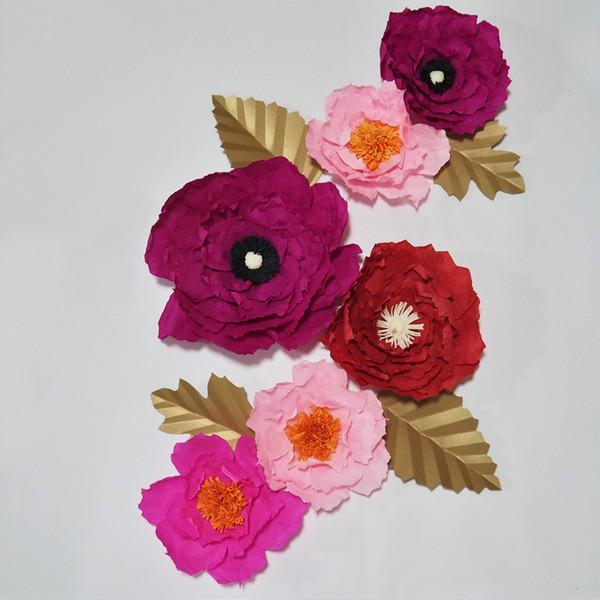Flores de papel crepé gigante 6pcs + 4 hojas para la decoración de la boda del partido de la muchacha cabina de la foto Telones de fondo de la boda Decoraciones del cuarto de niños del bebé Deco casero