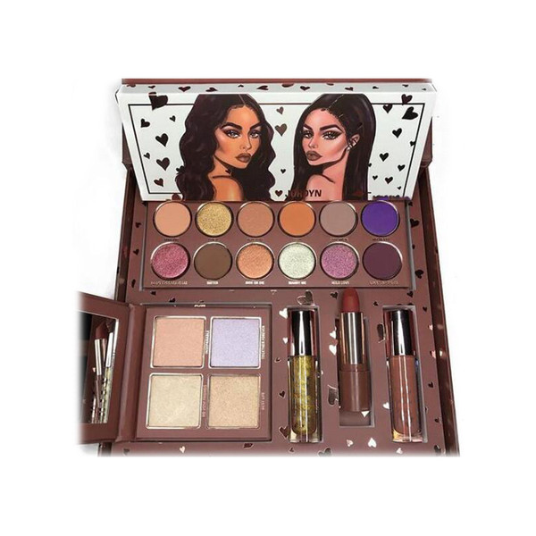 KJ collection Bundle lipgloss eyeshadow palette woods lipstick and collection pressed powder highlighter palette 2019 2018