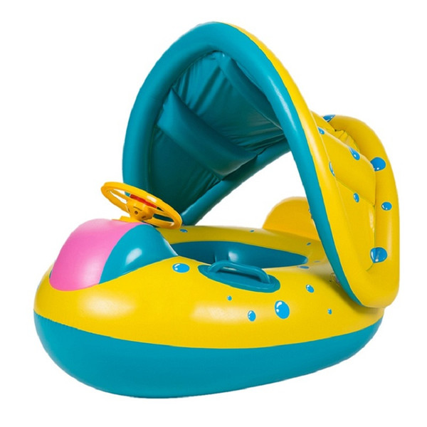 Inflatable Round Toddler Baby Ring Swimming Pool Accessories float seat plastic Adjustable Sunshade Swim Seat Boat Ring float