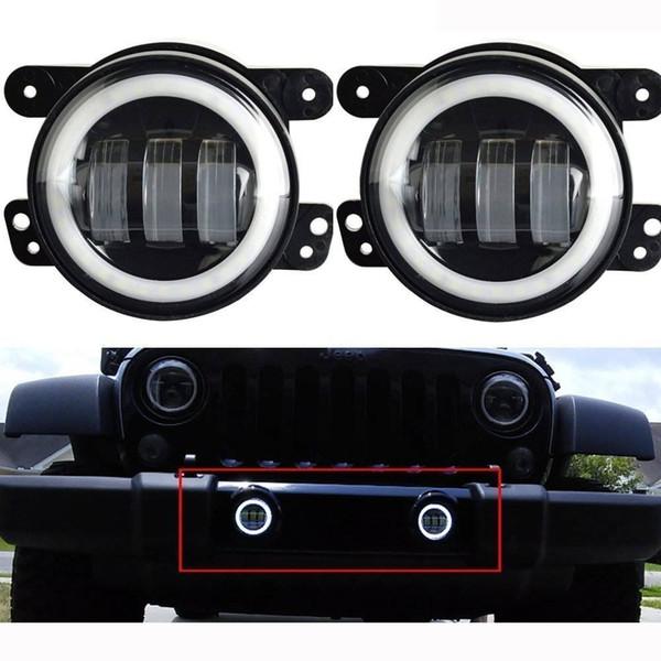 4 phares antibrouillard LED 60W avec anneau Halo blanc DRL pour phares antibrouillard Jeep Wrangler JK Projecteur LED phare conduite tout terrain