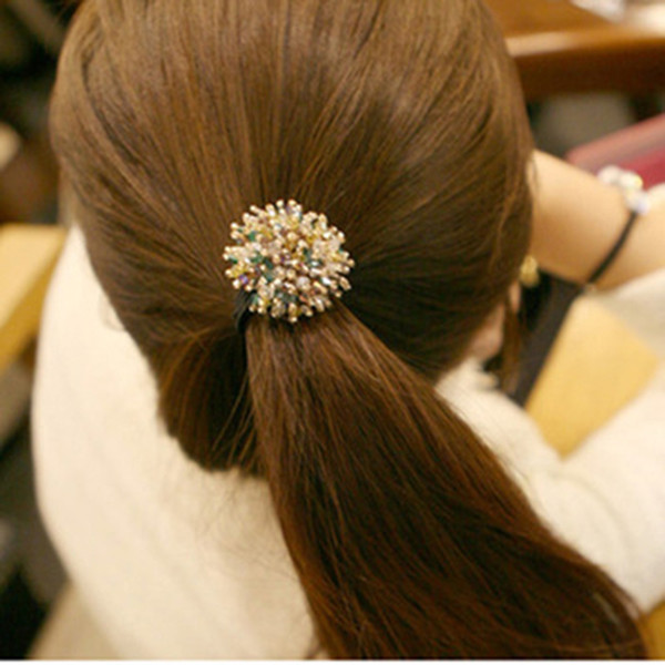 2018 Little Colorful Shining Crystal Balls Elastic Hair Bands Clips Headbands Accessories for Women & Girls
