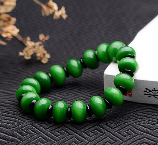 Burmese jade dry green beads bracelet Embryo bracelets full of green iron dragon jade beads bracelet abacus beads