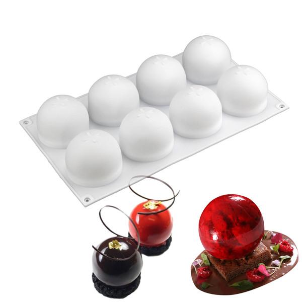 New White 8 Round Spherical Ball Shape Mousse Cake Silicone Mold DIY Baking Turned Sugar Tools