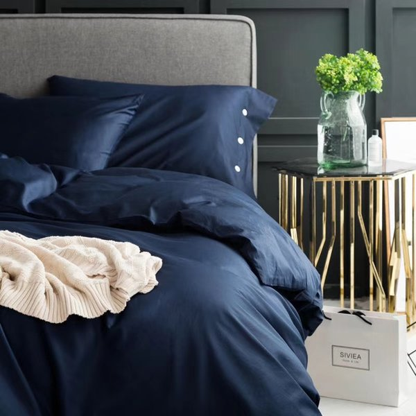 Ms.O 100% Cotton Plain Solid Plain Bed Sheets Luxurious Pearl Button Contrast Color Duvet Cover Bed Sheet Bedding Set Linen