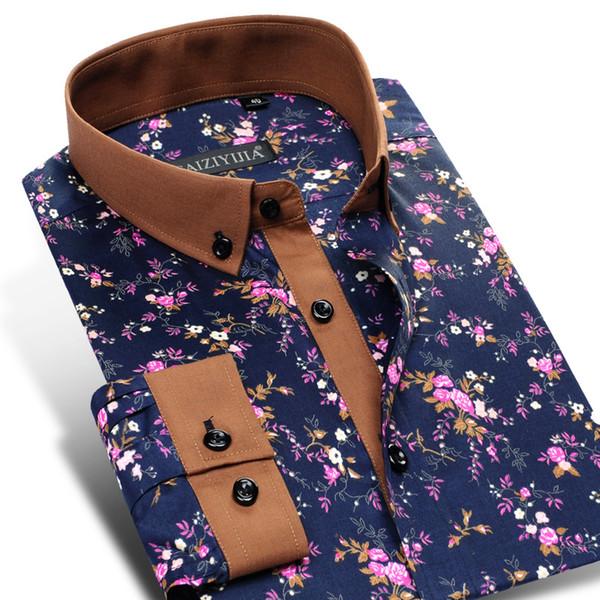 WYM09-WYM10otton Floral Print Long Sleeve Flower Dress Shirt Contrast Patchwork Collar&Cuff Smart Casual Button-Down Shirts