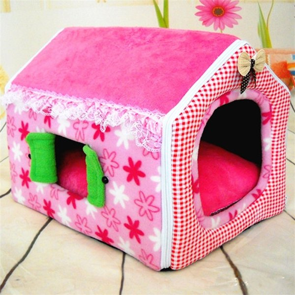 Design Collapsible Dog Houses Bed Keep Warm Comfy Soft Pet Supplies Short Plush Foldable Cat Mats With Windows 43 9xp jj