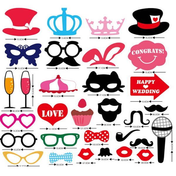 Wholesale-31 pcs/ set Wedding Photo Booth Props Party Decorations Supplies Mask Mustache For Fun Favors Photobooth Photocall