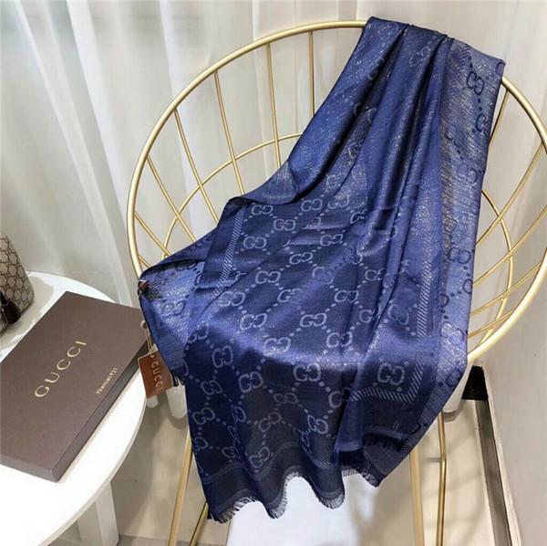 Primavera e verão lenços de seda lenços de grife de luxo lenços das mulheres marca de fios de ouro macio cachecol 180 * 70 cm