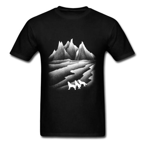 Men Tshirt Animal Top Quality Slim Fit Cool Clothes Shirt For Men Wolves Howl In The Gobi Desert Male T Shirt 3D Wolf Outline