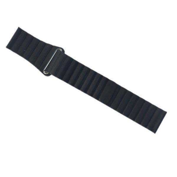 22/20mm Leather Loop Band for Samsung Gear S3/S2 Leather band Bracelet Belt Watchband Magnetic Adjustable Closure Black