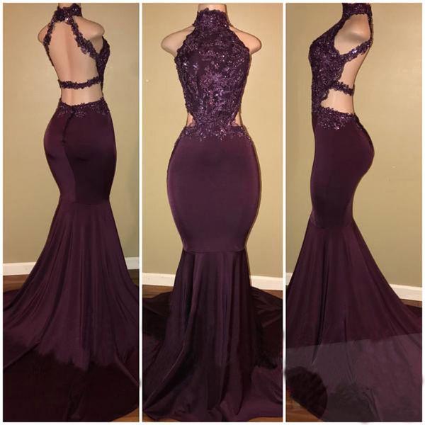 Sexy Dark Purple Mermaid vestidos de noche 2018 New Lace Top Halter Backless largos vestidos de baile Ocasión especial desgaste formal por encargo
