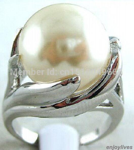 FREE SHIP >>White South Sea Shell Pearl 18KWGP Hand Ring Size: 7.8.9.10