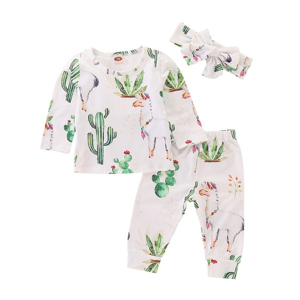 Mikrdoo 2018 Tolddler Baby Cute Cotton Clothes Set Long Sleeve T-shirt + Pant + Headband Llama and Cactus Printed 3PCS Outfit