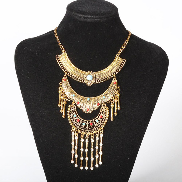 Wholesale- Find Me 2017 brand Fashion luxury gem Maxi Statement Necklace Pendants boho Vintage Ethnic collar Choker Necklace Women Jewelry