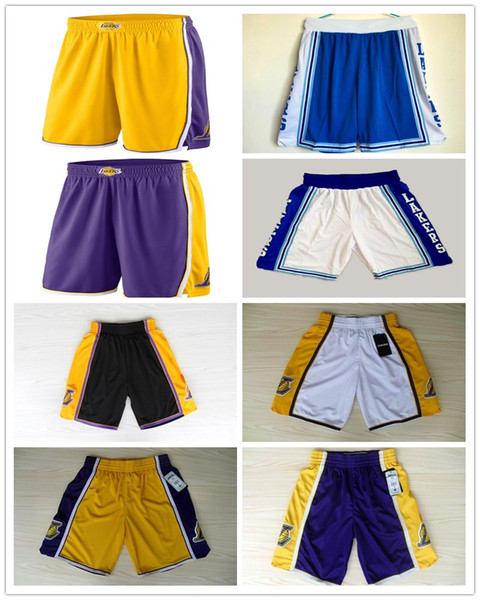 top popular 2018 HOT SALE New Season Authentic LAK Running Basketball Jersey Shorts Los Angeles state Men and youth Lakers Short Jerseys 2019